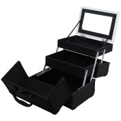 Songmics Mini Makeup Train Case Alumi Portable Cosmetic Box With Mirror Black UMUC11B