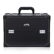 Sunrise Professional Synthetic Leather Beauty Makeup Artist Cosmetic Train Case, Black