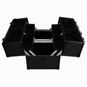 SONGMICS Makeup Train Case Alumi Portable Cosmetic Box with Shoulder Strap 8 Folding Trays and 2 Locks Black UMUC14B
