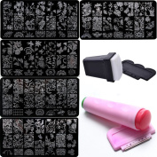 Bluezoo Nail Stamping Manicure Image Plates Accessories Kit*FLOWER OF LIFE* 2 Stampers and Scrapters Included For Diy Salon