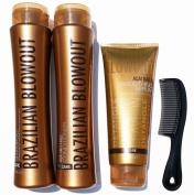 Brazilian Blowout Procare Trio Acai Anti-Frizz Shampoo & Conditioner 350ml bottles and Smoothing Serum 240ml with FREE shower comb ...