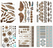 Pandahall 6PCS Metallic Tattoos - 50+ Shimmer Designs in Gold, Silver, Black & Turquoise - Temporary Fake Jewellery Tattoos - Bracelets, Feathers, Wrist & Arm Bands, & More