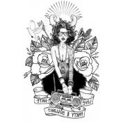 Q & Q Fashion Ram Horn Gypsy Girl Flower Arm Leg Body Art Waterproof Temporary Tattoo Sticker