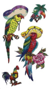 Mexican Tropical Birds Temporary Tattoos