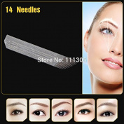 Pinkiou 50pcs/lot Professional Permanent Makeup Eyebrow Tattoo Blade 14 Needles for Manual Tattoo Pen