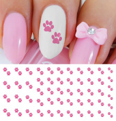 Hot Pink Paw Prints Water Slide Nail Art Decals- Salon Quality!