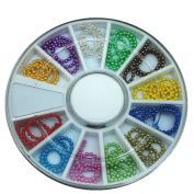 12 Colours 3d Nail Art Decorations DIY Bead Chain Ring Designs
