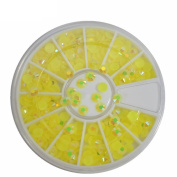 4MM Glitter Acrylic Yellow 3D Nail Art Rhinestones Flatback Yellow