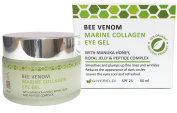 Bee Venom Marine Collagen Eye Gel 50 ml - Natural & Organic anti-ageing moisturiser and wrinkle filler with Manuka Honey, Royal Jelly, Peptides, Hyaluronic Acid - leaves your eyes cool and refreshed