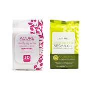 Acure Organics Clarifying Acne Towelettes and Acure Organics Unscented Argan Oil Cleansing Towelettes Bundle With Glycolic and Zinc, 30 Towelettes each