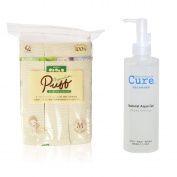 A set of Cure Natural Aqua Gel 250ml + ORGANIC Cotton Makeup Puff, Medium Best selling in Japan!