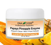 DNA Code®-20% Papaya Pineapple Glycolic Enzyme Clear Skin Mask Peel w/ Argireline, Hyluronic Acid, Glycolic Acid, Vit. C, E, CoQ10