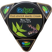 GoAyur Neem Tulsi Ayurvedic Post Stretch Marks Cream, 180ml, Herbal Body Moisturiser, Paraben Free, 100% Actives, Natural Fragrance