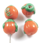 Lampwork Fall Halloween Beads-ORANGE MINI PUMPKIN 11mm