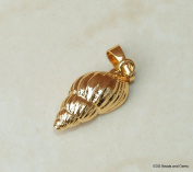 Gold Plated Sea Shell - Natural Sea Shell - Spiral Shell Pendant - Shell Bead - Gold Plated Shell - Seashell Pendant - 20-22mm