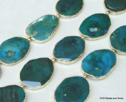 Teal Green and Blue Agate Quartz Druzy Faceted Bead. Gold Edge - Full Strand - Slab Bead Stone - Centre Drilled - 40mm x 55mm