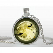 Halloween necklace Halloween pendant Bats and Crow Full Moon necklace