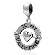 To My Valentine with Love Heart Charm Pendant 925 Sterling Silver Dangle Bead Fits Pandora Bracelet