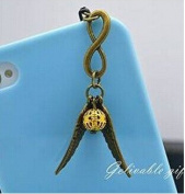 Pirate Iphone 5 4s 4 Charm,3.5mm Dust Proof Plug with Golden Snitch and Infinity Charms,fit for for for for for for for for for for for Samsung Blackberry Htc
