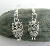 Ancient Silver Owl Earrings Charm Earrings Vintage Earrings Antique Steampunk Gift