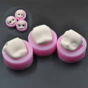 WellieSTR Set Of 3 Mini Lovely Doll Face Silicone Fandant Mould Polymer Clay Mould,Clay Lovely Doll Face Cab Push Press Moulds Mould
