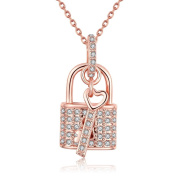 Onairmall Elegant Rose Gold Plated Heart Shape Key and Lock Pendant Necklace Love Tokens of Lovers