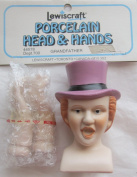 Lewiscraft Craft SET of 1 PORCELAIN 'GRANDFATHER' Man DOLL HEAD 7.6cm - 0.6cm and PAIR of HANDS Each 5.1cm - 1.3cm Long w RED Hair & PURPLE HAT