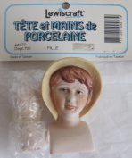 LEWISCRAFT Craft SET of 1 PORCELAIN 'GIRL' Lady DOLL HEAD 5.1cm - 1.9cm and PAIR of HANDS Each 5.1cm Long w REDDISH Hair & BONNET