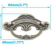 "Blumoona 5 Pcs - Antique Brass Jewellery Box Drawer Cabinet Cupboard Door Furniture Wine Handle Pull Knob W Screws 94mm(3.7"")x45mm"