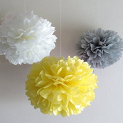 25cm 12pcs Mixed White Grey Yellow Tissue Paper Pom Pom Bridal Shower Decor Tissue Pom Pom Paper Flowers Tissue Pom Poms Tissue Paper Flowers