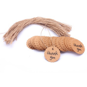 Thank You Brown Kraft Paper Favour Gift Tags with Jute Twines