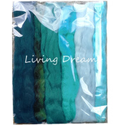 Living Dreams Multi Fibre Sampler for Felting, Spinning, Doll Making, Paper Crafts and Embellishments. Super soft Merino Roving, hand dyed Lustre Wool and sparkling Firestar Fibre. 30ml, Teal
