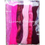 Living Dreams Multi Fibre Sampler for Felting, Spinning, Doll Making, Paper Crafts and Embellishments. Super soft Merino Roving, hand dyed Lustre Wool and sparkling Firestar Fibre. 30ml, Pink