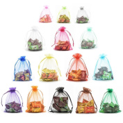 Akak Store 100pc 13 x 18 Cm /5 x 7 Inches Beautiful Transparent Mix 10 Colours Organza Drawstring Pouches Candy Jewellery Party Wedding Favour Gift Bags Pouch Bags