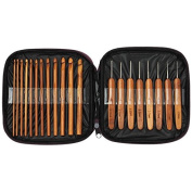 20pcs Bamboo Handle Crochet Hooks Knitting Needles Set Weave Craft with Bag
