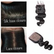 Derun Hair Body Wave Silk Base Top Closure Bleached Knots Free Part 10cm X 10cm Brazilian Virgin Human Hair closure Natural Colour 30cm