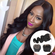 Youth Beauty® Brazilian Virgin Human Hair 3 Part Body Wave Lace Closure,Bleached Knots Top Lace Closure with Baby Hair Size 10cm *10cm Naturl Black 30cm Inch