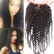 Sunwell 6A Virgin Human Hair Lace Top Closure Kinky Curly Bleached Knots with Baby Hair 8.9cm x 10cm Middle Part Lace Closure, Natural Colour, 30cm