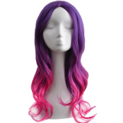 RightOn 60cm Guardians of the Galaxy Gamora Girls Women Sexy Long Curly Gradient Cosplay Costume Party Wig with Free Wig Cap and Comb