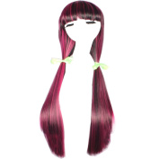 Wig Mal Halloween Wigs Women's Long Straight Full Bangs Synthetic Black with Pink