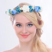 FAYBOX Bridal Fairy Style Flower Wreath Headband Hair Garland Beach Wedding Accessories Ivory Blue
