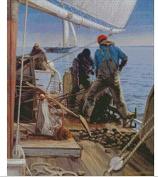 hearvest on the fishing boat cross stitch kits, 14ct, Egypt cotton thread 208x280 stitch, 48x61cm cross stitch kits