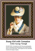 Young Girl with Carnation, Fine Art Counted Cross Stitch Pattern
