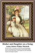Mother and Daughter on a Swing, Fine Art Counted Cross Stitch Pattern