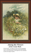 Among the Flowers, Vintage Counted Cross Stitch Pattern