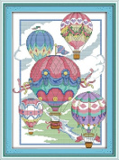 Good Value Cross Stitch Kits Beginners Kids Advanced -The Illusion Of Hot-air Balloons 11 CT 38cm X 50cm , DIY Handmade Needlework Set Cross-Stitching Accurate Stamped Patterns Embroidery Home Decoration