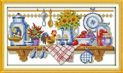 Good Value Cross Stitch Kits Beginners Kids Advanced -The Kitchen Corner 11 CT 50cm X 28cm , DIY Handmade Needlework Set Cross-Stitching Accurate Stamped Patterns Embroidery Home Decoration Frameless