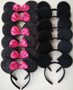 12-Mickey Mouse Ears Solid Black and Bow Minnie Headband for Boys and Girls Birthday Party or Celebrations