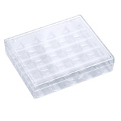 HENGSONG 25pcs Plastic Clear Bobbin Box Organisers Storage Case Box