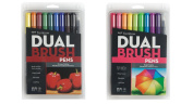 Tombow Dual Brush Pen Art Markers Set = Primary Colours (10 colour pack) + Bright Colours